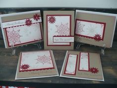 Pretty and quick...color scheme unites these cards with kraft card, red layer paper + stamped snowflake, and white main panels...