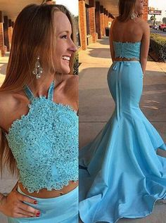 Gorgeous Halter Mermaid Long Blue Prom Dress Evening Dress,MB 76 - Thumbnail 1