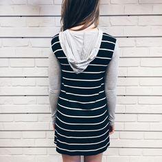 Long Line Hoodie Tunic #hunnistyle #stripe #hoodie #tunic #womens #fashion