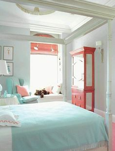 Absolutely Love This Colour Scheme Idea Coral And Teal Bedroom