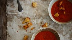 Slow-roasted tomato and capsicum soup with sour dough croutons recipe : SBS Food