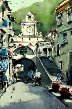 Buy Italian Towns, a Watercolor Painting on Paper, by maximilian damico from Czech Republic, For sale, Price is $205, Size is 11 x 7.5 x 0.1 in.