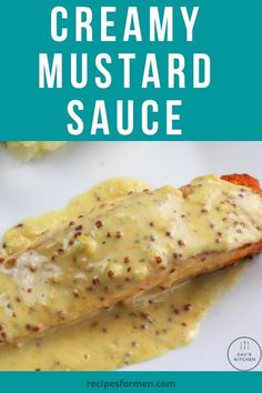 This recipe gives you a delicious creamy mustard sauce for use with salmon, other fish or even pork or chicken. Serve with vegetables. Creamy mustard sauce, creamy mustard sauce for pork, creamy mustard sauce for chicken, creamy mustard sauce for salmon, creamy mustard sauce for steak, creamy dijon sauce, creamy dijon sauce recipe, creamy dijon sauce for salmon, mustard sauce, creamy tasty sauce, creamy wholegrain mustard sauce, mustard cream sauce, creamy garlic dijon