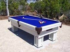 Pool Table....I like the blue and maybe I could make it more Giants' themed. This is an outdoor one, I want one in my basement.