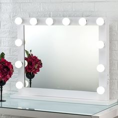 Joyful Store Hollywood Lighted Makeup Mirror  Gloss white aluminum frame,optic-quality glass,detachable wooden base of antisepsis. Imaging clearly not deformation, high precision grinding edge, doesn't not cut hand. Hollywood vanity mirror equips with 14 x dimmable LED light bulbs, provides provide plenty on brightness to makeup in dark. Luxury enjoyment dazzling beautiful feeling. You can look here and buy.