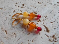 ruby,red,color,Czech glass,yellow tourmaline,orange,carnelian,gold plated,lever back,ear wires,earrings,handmade,crafted,jewelry.