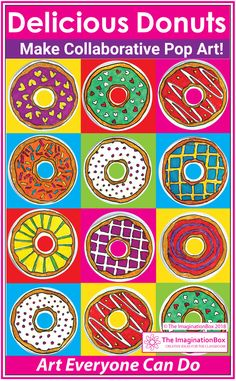 Coloring Pages Pop Art Collaborative Poster Coloring Pages Pop Art Collaborative Poster Dewi Batrisyah firwisyah Pattern Here is a fun donut art project for upper nbsp hellip Collaborative Art Projects For Kids, Art Lessons Elementary, Upper Elementary, Pop Art For Kids, 4th Grade Art, Valentines Art, Shape Art, Art Lesson Plans, Art Classroom