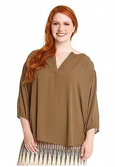 Karen Kane Plus Size Three Quarter Sleeve Blouse #Karen_Kane #Plus #Size #Khaki #Blouse #Plus_Size #Fashion #Belk