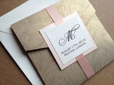 Gold Damask Pocket Wedding Invitation - Square, Floral, Elegant and Traditional Wedding Invitation