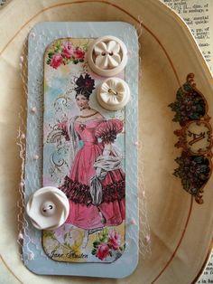 ButtonShop.ca - Handmade paper art, Jane Austen with vintage buttons, textiles. $3.00