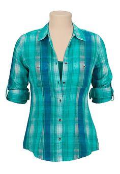 Chiffon back plaid button down shirt - maurices.com