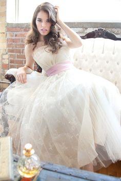 1950s Wedding Dress / Pink Dress / Dress / Dresses / Strapless / Bombshell / Pinup / Mad Men / Couture/ Fashion / Lace Wedding Dress / 0963. $385.00, via Etsy.