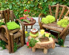 Fairy garden furniture set, fairy bench and chair, miniature table and cakes