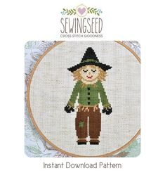 Scarecrow cross stitch pattern Wizard of Oz Instant por Sewingseed