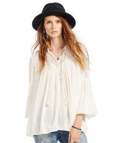 Lace-Yoke Cotton Gauze Top - Denim & Supply  Long-Sleeve - RalphLauren.com