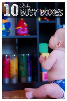 10 of our favorite baby busy box ideas: Busy boxes for babies can provide benefits such as fine motor skills, cognitive reasoning, and language development. Also great for keeping baby busy while tending to other kids! Baby Sensory, Sensory Play, Infant Sensory, Sensory Boxes, Baby Play, Baby Toys, Fun Baby, Infant Activities, Activities For Kids