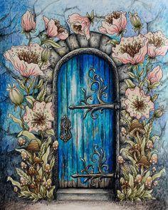 Done and I like it :-) sommarnatt hannakarlzon coloring coloringbook… Secret Garden Coloring Book, Cool Doors, Unique Doors, Dibujos Zentangle Art, Art Mur, Colorful Garden, Painted Doors, Windows And Doors, Colored Pencils