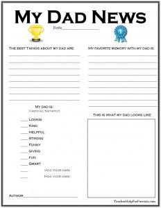 Father's Day Writing Activity - My Dad News Printable