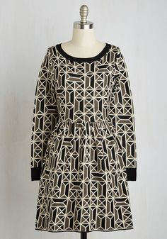Better Tessellate Than Never Dress. Put the fashion in fashionably late when you wear this sweater dress from Dear Creatures! #multi #modcloth