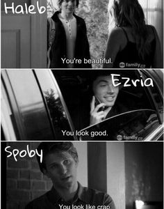 ezria, haleb, lol, pll, pretty little liars, spoby, fu.ny