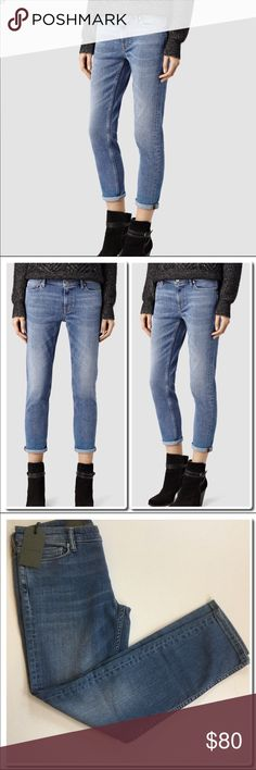AllSaints Fay Jeans All Saints Fay Jeans in Fresh Blue- Straight Fit- Mid Rise Cropped Leg-98% Cotton 2% Elastane All Saints Jeans Ankle & Cropped