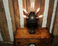 One-of-a-Kind Repurposed Steampunk Mad Scientist Diabolical Photon Convector Stash Box Lamp w/5 Edison Style Filament Light Bulbs & Remote