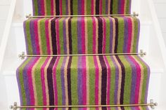 Stair Runners and rugs UK and Ireland Direct Stairway Carpet, Carpet Stairs, Affordable Carpet, Bedknobs And Broomsticks, Striped Carpets, Pink Carpet, Stair Storage, Under Stairs, Retro Home