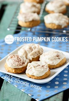 Frosted Pumpkin Cookies  | Inspired by Charm #IBCFallCookieWeek - Plus enter to win a KitchenAid Stand Mixer!!!! Details: http://www.inspiredbycharm.com/2013/09/frosted-pumpkin-cookies-fall-cookie-wekk-kitchenaid-stand-mixer-hump-day-giveaway.html