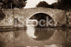 Old Style French Bridge. Black and White royalty-free stock photo