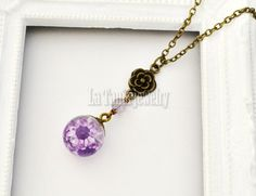 Purple Flower Necklace - Dried Flower Resin Ball, Botanical jewelry, Orb Flower Charm Necklace Eco Friendly Pendant, Whimsical Jewelry by LaTaniaJewelry on Etsy