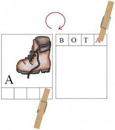 Karty s kolíčky - pořadí písmen ve slově