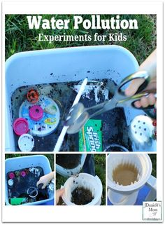 Water Pollution Experiments for Kids- Kids will conduct to science experiments that work together to explore the process of cleaning polluted water.
