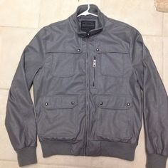 REDUCEDMarc Ecko gray jacket Gray leather looking Marc Ecko excellent condition Men large jacket... Marc Echo Jackets & Coats