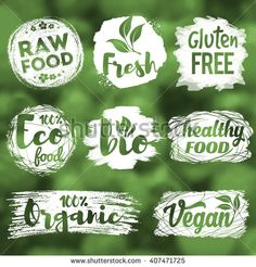 Labels, logos and badges set with healthy, eco, organic and raw food diet designs for meal and drink, shops, cafe, restaurants and products packaging. Vector illustration. - stock vector