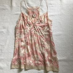 """Free people silk tank top Lt. Pink flowers printed silk top.Lace trim details. Embroidered trim back panel. Actual size-4"""".(same as small size) Free People Tops Tank Tops"""