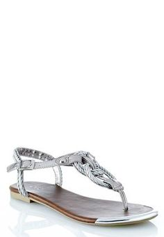 97716a220 Cato Fashions Metallic Rope Flat Sandals – Wide Width  CatoFashions Rope  Sandals