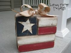4th of July decorations made of wood.