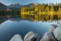 Štrbské pleso natural lake in the High Tatras, Slovakia