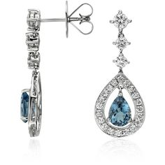 Blue Nile Pear Shape Aquamarine and Diamond Halo Drop Earrings ($2,720) ❤ liked on Polyvore featuring jewelry, earrings, accessories, aquamarine, dangle earrings, blue nile earrings, long earrings, long drop earrings and drop dangle earrings