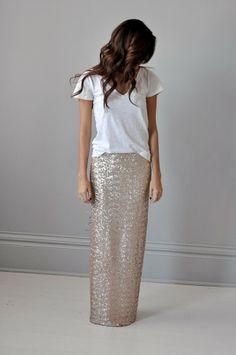 aBree Original: Sequin Maxi Skirt + White Tee