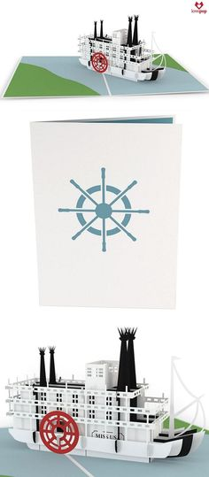 Sail away with this classic steamboat pop up card. Gift this paper art card for any occasion. #riverboat #nautical