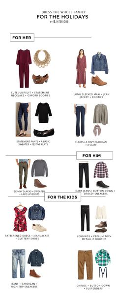 Outfit ideas for dressing the whole family for the holidays. Great choices for Thanksgiving, Christmas, and holiday picture outfits.