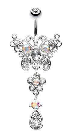 14G Mandala Dreamcatcher Dangle Goldtone Steel Navel Belly Button Ring