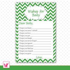 INSTANT DOWNLOAD Chevron Green Baby Shower Wishes for Baby Cards - Zigzag Baby Shower Favors Party Favors Party Activities Baby Shower Games
