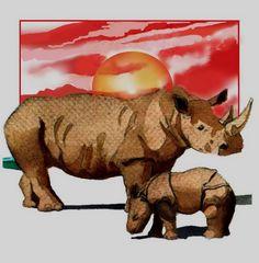 watercolour painting of rhino