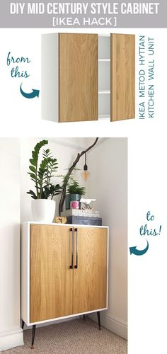 Best ikea hacks and diy hack ideas for furniture projects and home decor from ikea - diy mid century style cabinet - creative ikea hack tutorials for diy Diy Hanging Shelves, Floating Shelves Diy, Ikea Shelves, Ikea Furniture, Furniture Projects, Rustic Furniture, Furniture Plans, Furniture Stores, Kitchen Furniture