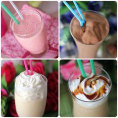 Frappuccinos Starbucks de crema, recetas para hacerlos en casa: * Frappuccino de fresas con nata * Frappuccino de chocolate * Frappuccino de vainilla * Frappuccino de caramelo