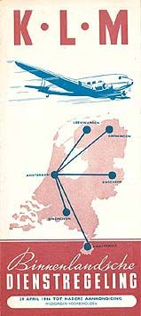 KLM Timetable Domestic routes, 1946
