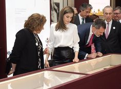 King Felipe and Queen Letizia visit National Library in Madrid