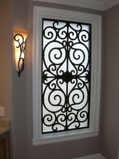 Faux Wrought Iron Window Inserts - gorgeous way to add privacy to bathroom window Iron Windows, Iron Doors, Windows And Doors, Window Grill Design, Door Design, Iron Window Grill, Burglar Bars, Residential Windows, Window Inserts